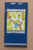 RATP SNCF APTR - TRAIN METRO BUS CAR - PARIS  ET REGION PLAN TRANSPOCHE - 1976 - 19,5 X 10 Cm -  4  SCANS - Europe