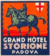 """02187 """"PADOVA - GRAND HOTEL STORIONE""""  HOTEL LIBERTY AFFRESCATO DA CESARE LAURENTI, DEMOLITO NEL 1962. ETICHETTA ORIG"""
