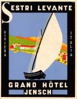 """02188 """"SESTRI LEVANTE - GRAND HOTEL JENSCH - RIVIERA ITALIA"""" 1930 QUARTIER GENERALE I� BARCAROLATA ORIENTALE. ETIC. ORIG"""