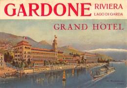 """02189 """"GARDONE RIVIERA LAGO DEL GARDA-GRAND HOTEL"""" APERTO NEL 1884, FATTO COSTRUIRE DALL�AUSTRIACO L.WIMMER. ETIC. ORIG"""