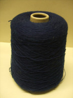 GROSSE BOBINE CONE Pelote Fil Bleu Marine (laine ?) KSW - Wool