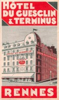 "02191 ""RENNES - HOTEL DU GUESCLIN & TERMINUS""  ETIC. ORIG"