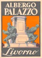 """02192 """"LIVORNO - ALBERGO PALAZZO""""  NELLE TORETTE LIBERTY G. MARCONI FECE I PRIMI ESPERIMENTI SUL TELEGRAFO. ETIC. ORIG"""