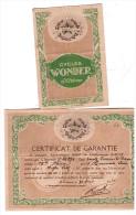 Certificat De Garantie CYCLES WONDER (st Etienne) (PPP1230) - Old Paper