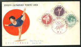 First Day Cover 1962 Olympic Games In Tokyo Japan Raised Gold 3 Episode 2 Full - FDC