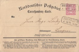 NDP Karte EF Minr.16 Dresden VI. 4.8.70 Nachverwendeter Stempel - Norddeutscher Postbezirk