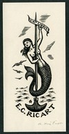 Artista: Antonio Ollé Pinell. Propiedad: E. C. Ricart Nin. Meds: 70x145 Mms. Xilografía. Firmado A Lápiz. - Ex Libris