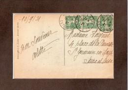 SUR  CPA  --  1921  -- UNE  BANDE  ET  UN  TIMBRE  5 C  SEMEUSE  FOND  PLEIN  -- CACHET  DIJON  GARE..... - Covers & Documents