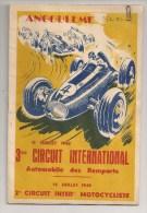 Programme 1948 Du 3ème Circuit International Automobile Des Remparts D´Angoulème - Programs