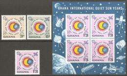 Ghana 1964 Mi# 170-172 A, Block 9 ** MNH - Intl. Quiet Sun Year, 1964-65 / Space - Ghana (1957-...)