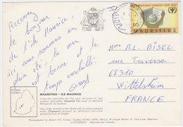 Carte Postale Oblitérée Avec N° 746(Yvert) Maurice 1990 - Année Internationale De L'alphabétisation - Maurice (1968-...)