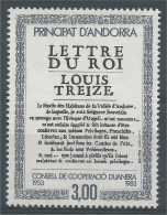 """Andorra (French Adm.), Customs, """"Lettre Du Roi"""", 1983, MNH VF - Unused Stamps"""