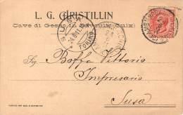 "03911 ""SAVOULX (OULX) (TO) L. G. CHRISTILLIN - CAVE DI GESSO - RICEVUTA SACCHI"" . CART. COMMERC.  ORIG. SPEDITA 1911. - Otras Ciudades"