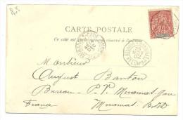 Madagascar Colonies, Timbre Sur Carte, La Reunion A Marseille No3 Octogonal, Miramas   (bon Etat) - 1877-1920: Periodo Semi Moderno