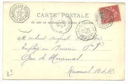 Madagascar Colonies, Timbre Sur Carte, La Reunion A Marseille No3 Et No4 Octogonal, Miramas   (bon Etat) - 1877-1920: Periodo Semi Moderno