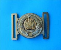 YUGOSLAV ARMY - Officer Brass Belt Buckle Officier Laiton Boucle De Ceinture Gürtelschnalle Fibbia Della Cintura Ukanda - Equipment