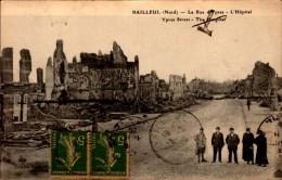 59-BAILLEUL..LA RUE DES PRES..L'HOPITAL..CPA ANIMEE - Francia