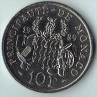 ** 10 FRANCS MONACO 1989 SUP ** - 1960-2001 Nouveaux Francs