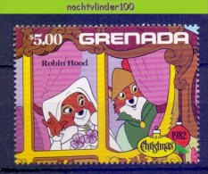 Nci296z WALT DISNEY ROBIN HOOD AND MARIAN VOS FOX CHRISTMAS GRENADA 1982 PF/MNH - Disney
