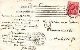 Esperanto, Kaart Congres 1909, Van Groot-Brittannië Naar Antwerpen (7006) - Esperanto