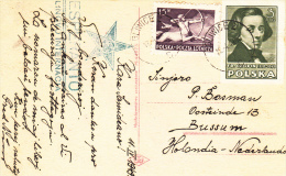Esperanto, Kaart 1949, Van Polen Naar Bussum, Nederland (7010) - Esperanto