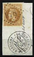 "YT 28A  "" Napoléon III Lauré 10c. Bistre "" GC 978 CHAUMONT-EN-BASSIGNY - 1863-1870 Napoleon III With Laurels"
