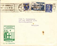 Esperanto, 42e Universala Kongreso De Esperanto, Marseille, 1957, Brief Van Frankrijk Naar Uccle, België (7021) - Esperanto