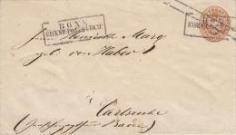 GAA 17, Entier, Bonn Eisenb Postbureau, Naar Carlsruhe (7029) - Prusse