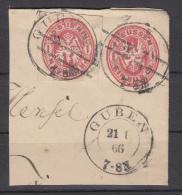 GAA 15, Entier, Op Briefstukje Guben, 1866 (7030) - Prusse