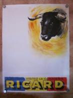 Affiche publicitaire Ganaderia Ricard a Mejanes , illutr�e par Henry Couve , * VP