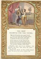 Superbe Et Rare Image Pieuse Dorée Et Gaufrée, Janvier 1866, The Best Example For The Young - Images Religieuses
