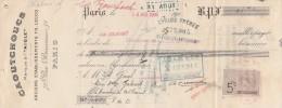 Lettre Change 10/8/1906 LECOQ Chaussures Caoutchouc L´AIGLE Rue Réaumur PARIS Pour La Bourboule Puy De Dôme - Lettres De Change
