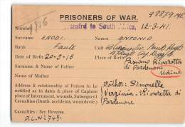 14075 PRISONERS OF WAR - SOUTH AFRICA TO RIVAROTTA PORDENONE - Storia Postale