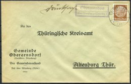 Landpost Stempel Brief 1934 Thuringia Gemeinde Oberarnsdorf Uber Altenburg - Briefe U. Dokumente