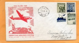 Norway 1946 First USA Commercial Flight FAM 24 Air Mail Cover Mailed - Lettres & Documents
