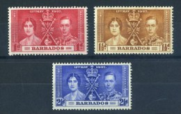 Barbados 1937 KGVI Commonwealth Coronation George British Queen Royals Royalty PeopleStamps MNH SG 245-247 Sc 190-192 - Barbados (1966-...)