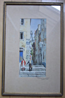 Altes Bild Malerei Aquarell Lissabon Signiert Kunst - Altre Collezioni