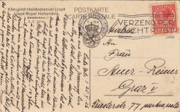 S.S. GELRIA - Dampfer - Schiffspost Gel.1926, Königlich Holländischer Lloyd, Amsterdam, Loyd-Wappen Auf Kartenrückseite,