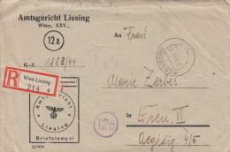V1 - ÖSTERREICH 1944 - R-Brief Mit Inhalt Vom Amtsgericht Liesing Wien XXV - Covers & Documents