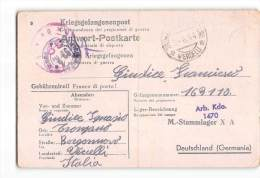 14082  KRIEGSGEFANGENENPOST POSTKARTE TRONZANO VERCELLESE TO  ITALIAN PRISONER STALAG - GEPRUFT - Storia Postale