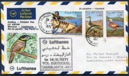 1971 Maroc Casablanca Lufthansa First Flight Cover - Brazil Brasil Rio De Janeiro - Morocco (1956-...)