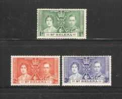 St Helena 1937 Commonwealth GB Coronation Queen Royals Royalty People Stamps MNH Sc 115-117 - Great Britain (former Colonies & Protectorates)