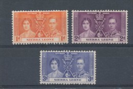 Sierra Leone 1937 Commonwealth GB Coronation Queen Royals Royalty Royalties Famous People Stamps MNH SG 185-7 Sc 170-172 - Royalties, Royals