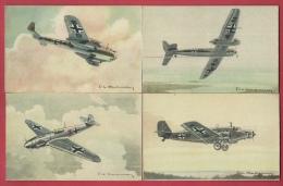 Avions Allemands De La 2me Guerre Mondiale - 4 Cartes Postales ( Voir Verso ) - 1939-1945: 2ème Guerre