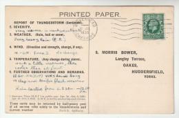 1935 BIRKENHEAD COVER Postcard METEOROLOGY Report WEATHER STATION  Re THUNDERSTORM Gb Gv Stamps - Brieven En Documenten