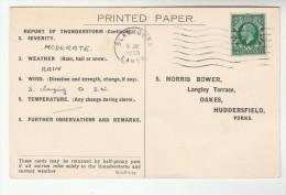 1935 BLACKBURN COVER Postcard METEOROLOGY Report WEATHER STATION  Re THUNDERSTORM Gb Gv Stamps - 1902-1951 (Reyes)