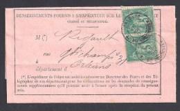 Loiret - Paire 5c Type Sage Oblitérée Orléans Rue Du Colombier Sur Avis Des Postes - 1877-1920: Semi-moderne Periode