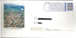 """Lettre  PAP   """"  Voiron """" ( 38 )   Du  14 - 03 - 2007   De  Grenoble - Sassenage  ( 38 )     Lettre  - Logo Bleu - - PAP : Bijwerking /Logo Bleu"""