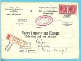 """N�250 (Paire) LUXEMBOURG-VILLE 28.6.35 s/Lettre RECOMMANDEE """"Valeurs � recouvrer"""" v. ARLON. TB et R."""