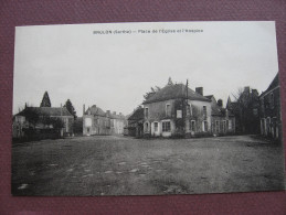 CPA 72 BRULON Place De L'Eglise Et Hospice Canton LOUE - Brulon